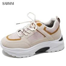 SANMM Women Autumn Winter Sneakers Thick Sole Flat Platform Cotton Shoes Lace-Up Casual Mixed Colors Woman AZ84