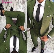 Linyixun 2020 последние конструкции пальто брюки зеленый мужской костюм Slim Fit 3 шт смокинг стильные костюмы для жениха на заказ Выпускной вечерние Блейзер Terno