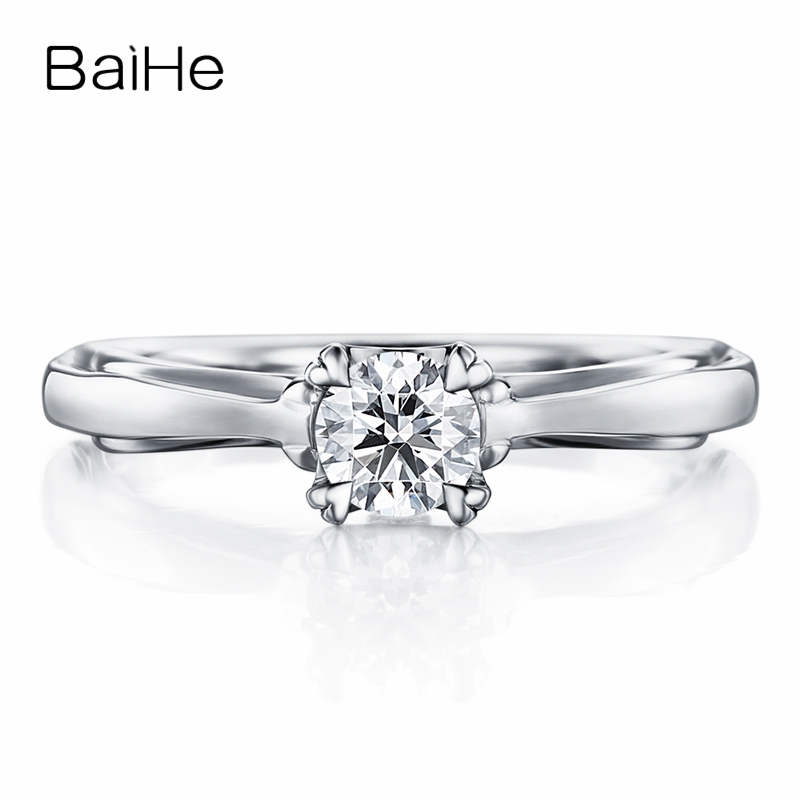 BAIHE Solid 18K White Gold 0.20CT Certified FG/SI Round Cut 100% Genuine Natural Diamond Wedding Women Trendy Fine Jewelry Ring BAIHE Solid 18K White Gold 0.20CT Certified FG/SI Round Cut 100% Genuine Natural Diamond Wedding Women Trendy Fine Jewelry Ring