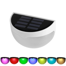 Color Changing Wall Mounted LED Solar Light Outdoor Waterproof Garden Lawn Fence Landscape Lamp