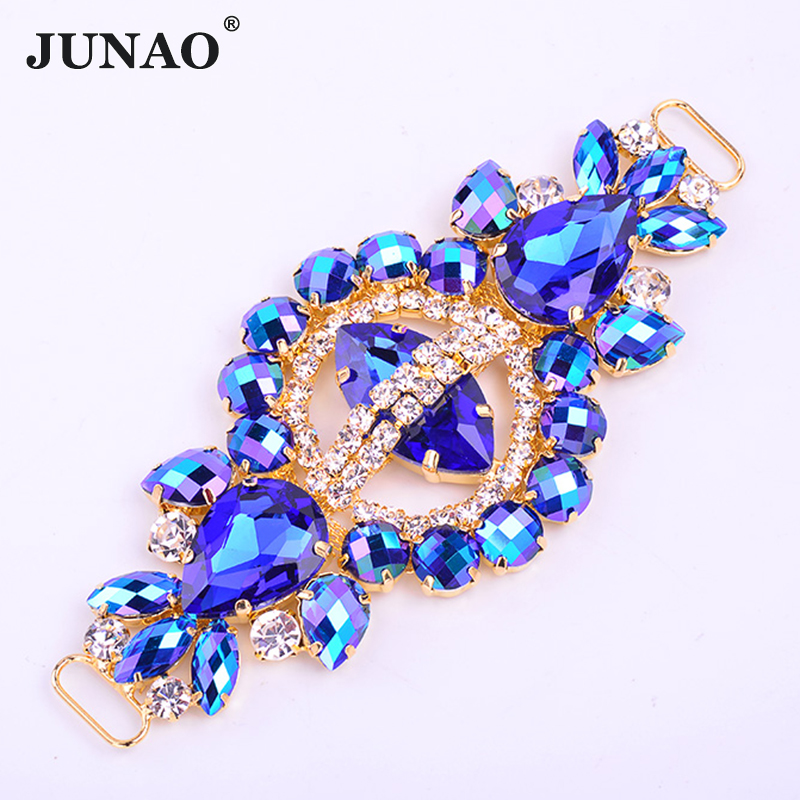 JUNAO 55*132mm Sewing Blue AB Glass Rhinestone Buckle Connector Strass Chain Flower Crystal Applique For Bikini Dress Crafts