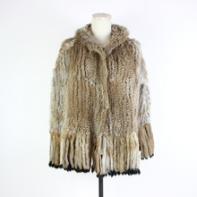 Winter Women Real Rabbit Fur Hooded Poncho Knittd Exquisite Fringed Shawl button