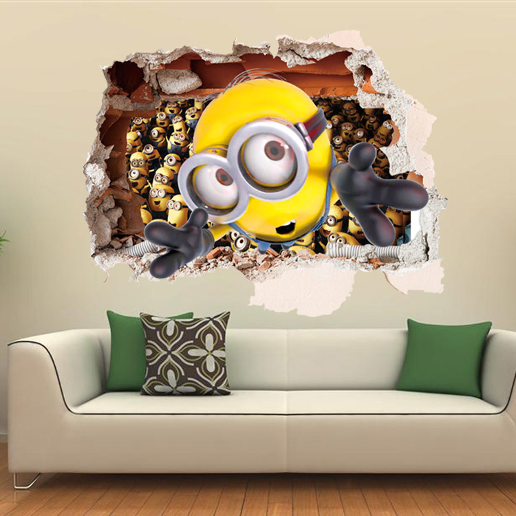 Cartoon Despicable me 2 cute minions 3D wall stickers for kids rooms  decorative adesivo de parede removable pvc wall decal