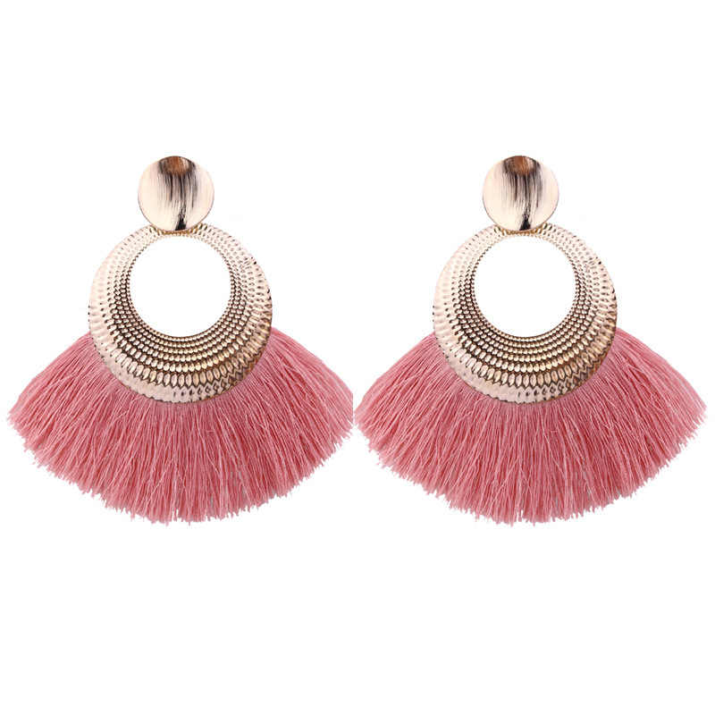 Bohemian Fan Big Tassel Drop Earrings For Women Lady Female Fringe Handmade Geometric Brincos Statement Fashion Earring 2019 New