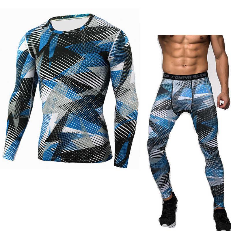 Камуфляжные мужские комплекты компрессионные рубашки + Леггинсы базовый слой Кроссфит фитнес MMA футболка с длинным рукавом Топы колготки телесного цвета Леггинсы