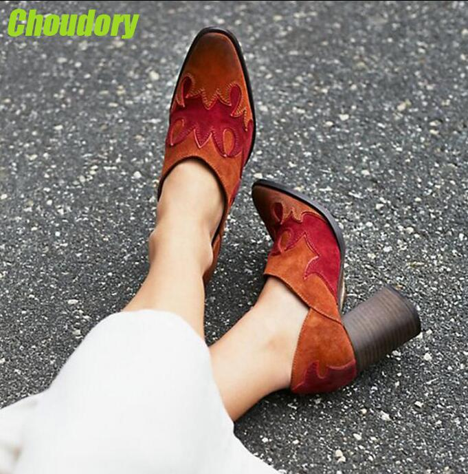 Spring Fashion Suede Leather Women Pointed Toe Pumps West Style Ladies Slip On High Heels Mixed Colors Leather Patchwork Pumps hairway фен hw python ionic 2100w