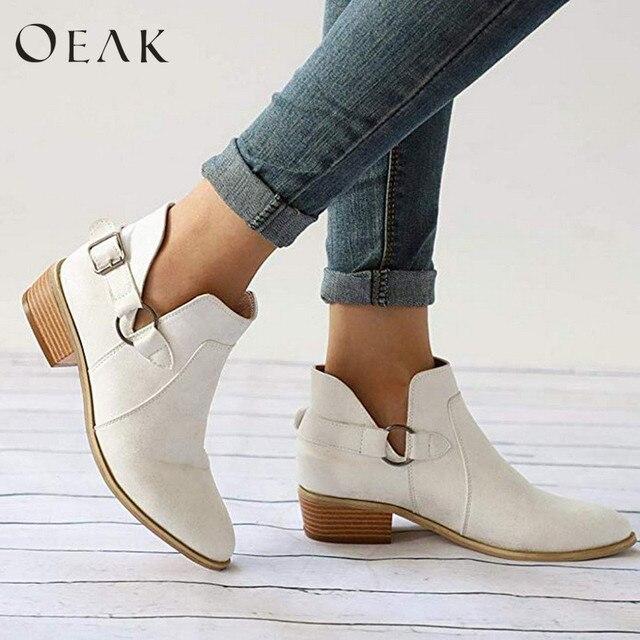 Oeak Kadın PU Tek Çizmeler Bayanlar Sivri Burun Çizmeler Büyük Boy Moda Giyim Patik Sonbahar ve Kış Ayakkabı