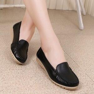 Image 5 - Dobeyping סגנון חדש נעלי אישה רך אמיתי עור נשים דירות נעליים להחליק על נשים של מזדמנים אמא נעל בתוספת גודל 35 42