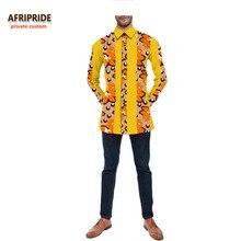 2017 otoño camisa de los hombres AFRIPRIDE personalizada personalizada de manga larga de una sola breasted camisa de algodón casual para hombres 100% algodón de cera A731205