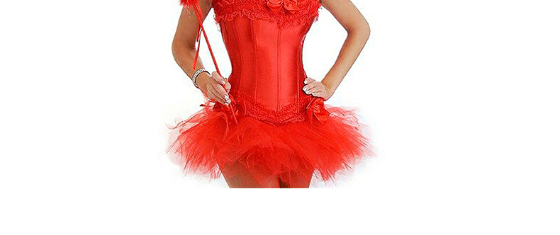 2019 2017 Burlesque Red And Black Corset Dress Costume Bustier Para