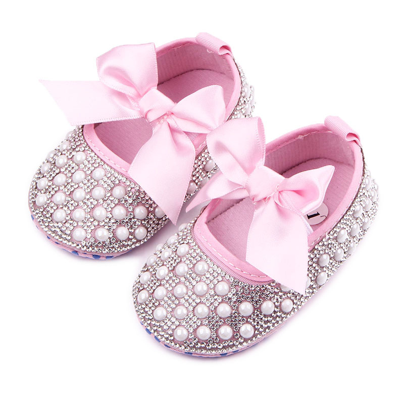 Beautiful Rhinestones With Pearl Four Design Butterfly-knot Soft Sole Shiny Baby Girl Dress Shoes For 0-12 Months Priness Shoes
