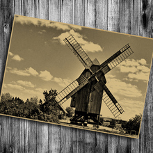 Hot sale the classic Dutch windmill Adornment Wall Stickers Adornment Posters cafe bars pub Vintage Poster Retro Kraft Paper