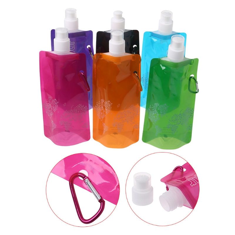 480ml Folding Water Bag Hiking Camping Sport Portable Silicone Soft Drink Bottle #35/15W