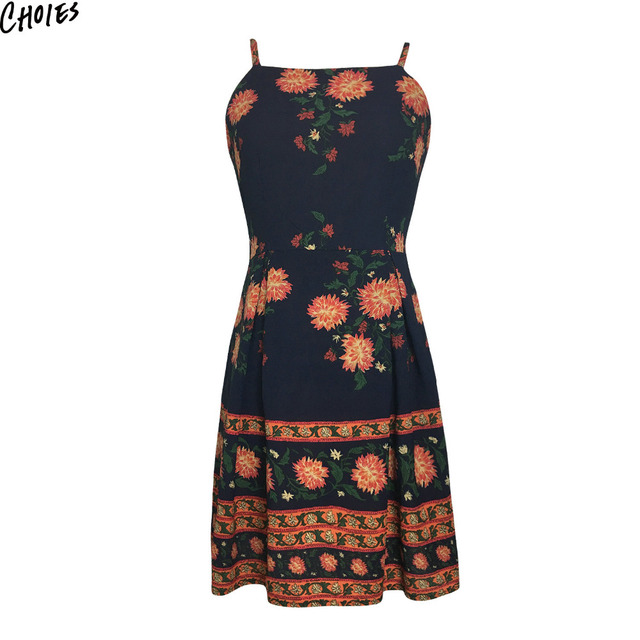 Navy Blue Floral Print Spaghetti Strap Mini A Line Dress Women Backless  Sleeveless Back with Zipper Casual Summer Dresses 708add646