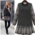 Large Size New 2016 Autumn Winter Women Dress Long Sleeve Fashion Was Thin Plaid Stitching Fake Two Dress