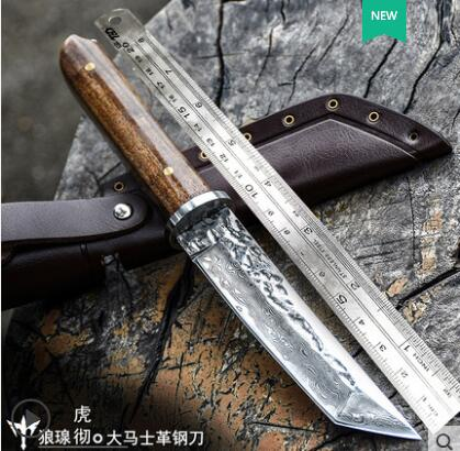 VG10 Damascus steel Mini fish knife EDC tool fixed blade snakewood straight knife high hardness outdoor