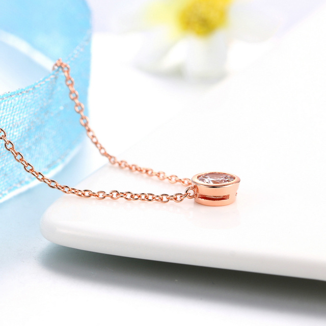 Small Round 1 carat Cubic Zirconia Rose Gold Pendant Necklace  4