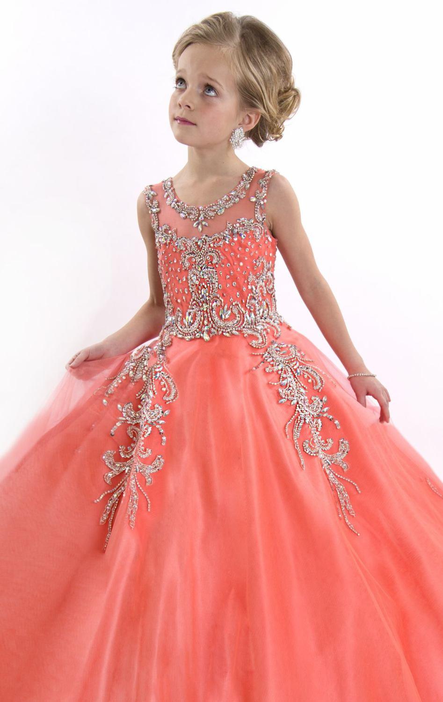 Alta calidad que rebordea naranja niña de las flores vestidos para ...