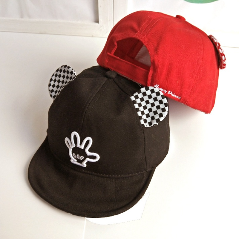 Yienws Flat Baseball Caps for Boys Girls 2018 Summer Finger Embroidery Ear Baseball Cap Children Cartoon Cute Kawaii Hats YIC063