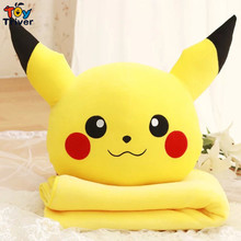 Quality Plush Pokemon Pikachu Stuffed Toy Doll Hold Warm Pillow Portable Blanket Baby Shower Car Air Condition Travel Rug Gift
