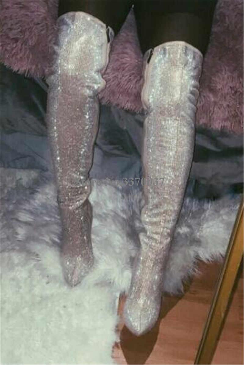 Phụ Nữ Sang Trọng Kim Cương Giả Mũi Nhọn Trên Đầu Gối Mỏng Gót Giày Bling Bling Pha Lê Slim Cao Gót Dài Giày Giày Cưới