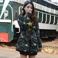 Mujeres de la Chaqueta de camuflaje Con Capucha Camuflaje de Impresión Sarga de Algodón Abrigo 2017 Nueva Moda Cintura Con Cordón Envío Gratis