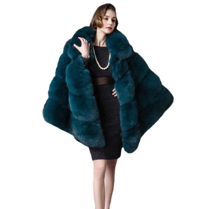 فو الفراء معطف الأزياء 2019 جديد سترة الفراء معطف النسخة الكورية من الخريف و الشتاء تقليد الثعلب الفراء العشب شال عباءة سترة-في فراء صناعي من ملابس نسائية على  مجموعة 1