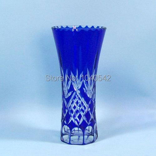Man Blown Bohemian Czech Crystal Glass Vase Hand Cut To Clear Glass