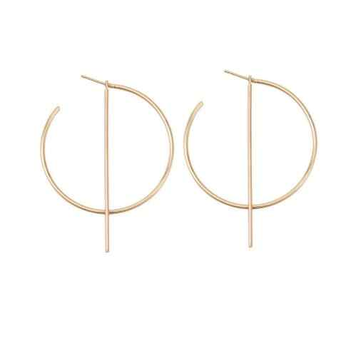 Hot Vintage Gloden Circle Round Earrings with Line Charm Hypoallergenic Hoop Earrings for Women Ear Chic Punk Jewelry 2018
