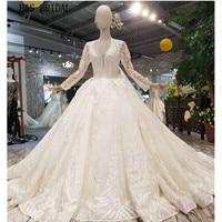 H&S BRIDAL Long Sleeve wedding gowns Ball Gown beading wedding dress Elegant long Vestido de Novia 2019 robe de marriage
