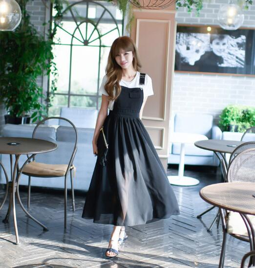 Free Hot Sale O-neck Ankle-length Shipingeurope And The 2019 Summer Girl Sweet New Fashion Strap Dress Women's Chiffon Suit 4