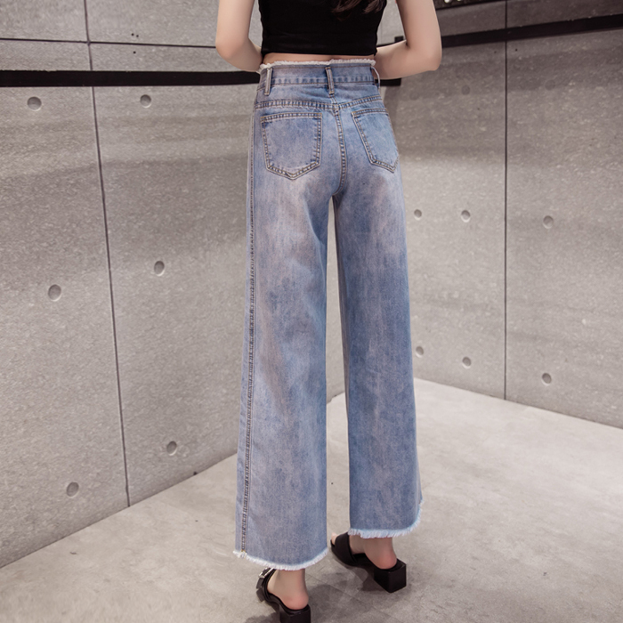 2018 Fashion Retro Style Wide Leg Jeans Women Pants High Waist Washed Loose Cotton Jeans Pants Denim Ankle-Length Pants A632 2