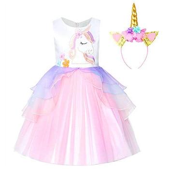 5fa5995c95b Product Offer. Необычные дети Единорог Платье с фатиновой юбкой для обувь девочек  вышитая бальное платье Детские платья принцессы в ...