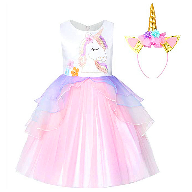 <font><b>Fancy</b></font> Kids Unicorn Tulle <font><b>Dress</b></font> for Girls Embroidery Ball Gown <font><b>Baby</b></font> Flower Girl Princess <font><b>Dresses</b></font> Wedding Party Costumes Unicornio image
