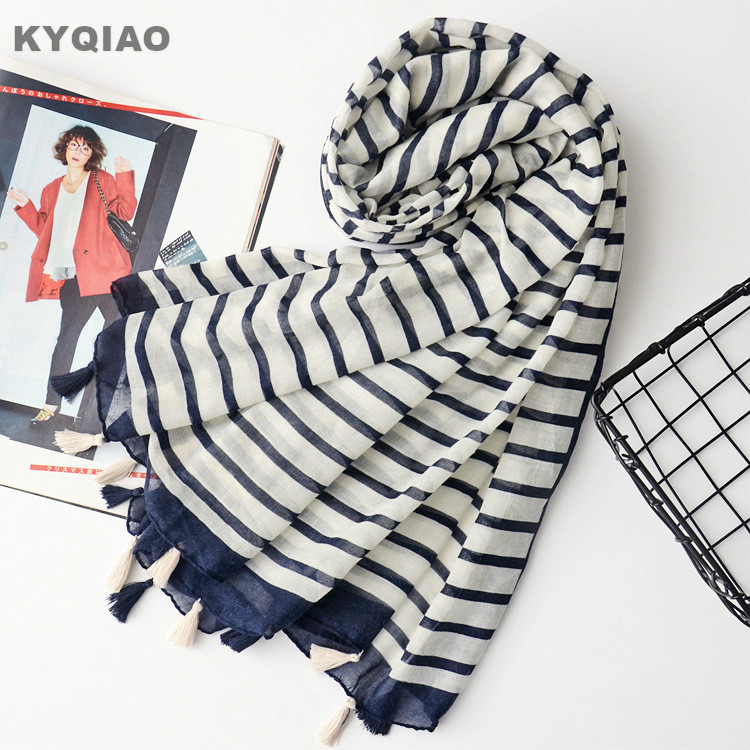 Striped Scarf For Women Autumn Spring Winter Japanese Style Fresh Long Striped Scarves Cape Shawl Muffler Ladies Office