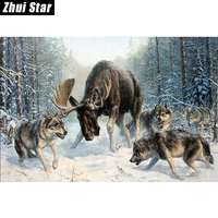 Wolves And Deer 40x60 3D DIY Diamond Painting 100 Full Square Drill Cross Stitch Embroidery Rhinestones