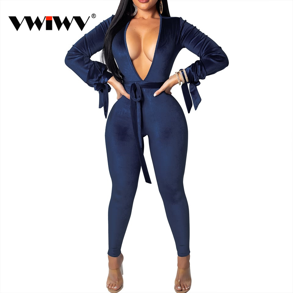 VWIWV 2019 pleuche Belt cuff bow tie jumpsuit Deep V neck Clubwear backless Jumpsuit Fashion Sexy Blue/ Purple party Outfits