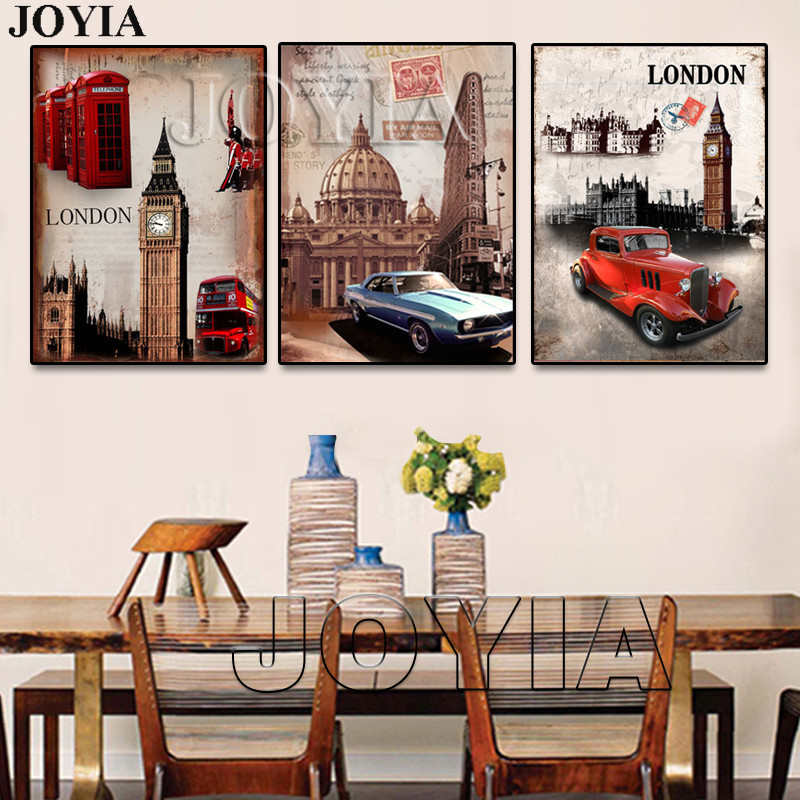 Triptych Painting Wall Art London Style Decorative Canvas