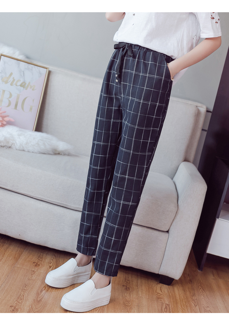 Make English plaid pants female easy to restore ancient ways recreational pants the spring and autumn period and the new female 10