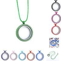 9pcs DIY Pendants Crystal Accessories Alloy Phase Box Glass Locket Necklaces Rhinestone Floating Locket Memory Living Jewelry