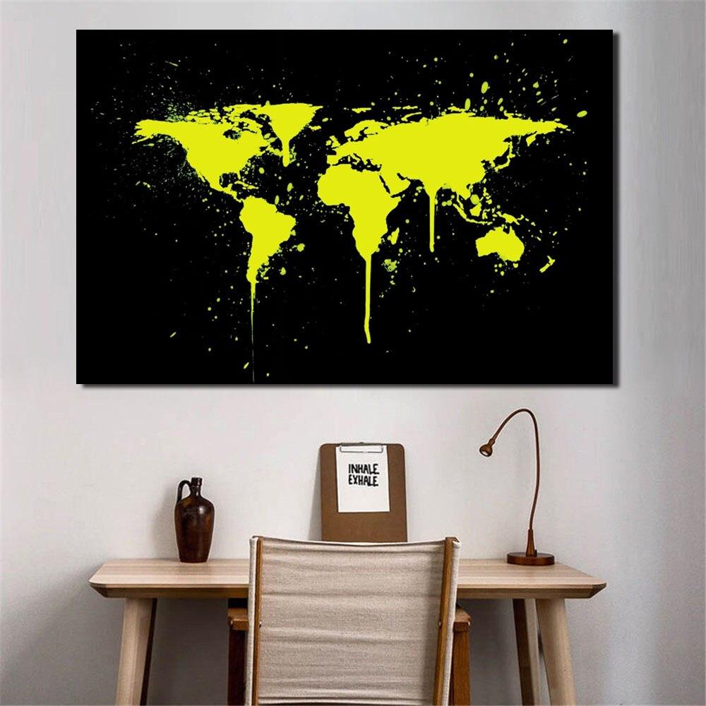 €9.49 35% de réduction|1 pièces/ensemble abstrait jaune monde cartes  impressions sur toile peinture moderne doré monde carte en noir mur photo  pour ...