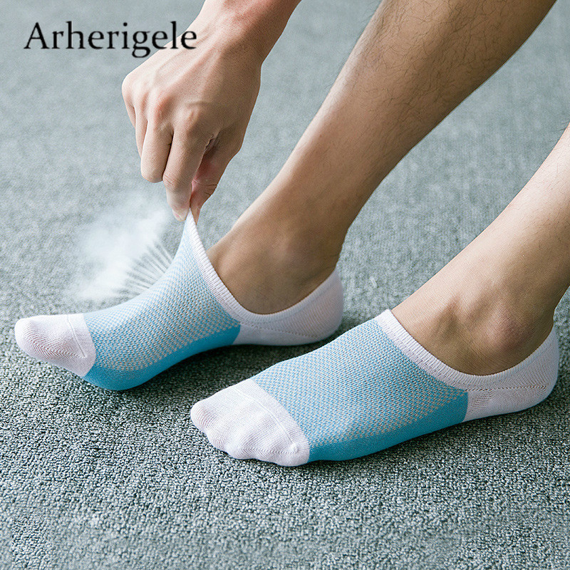 Arherigele Summer   Socks   Men Slippers Bamboo Fibre Non-slip Silicone Invisible Boat   Socks   Male Low Cut Ankle   Socks   Masculino