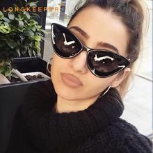 LongKeeper Sexy Cat Eye Sunglasses Women Fashion Brand Vintage  Female Shade Glasses Black Plastic Frame Eyewear UV400 Gafas недорого