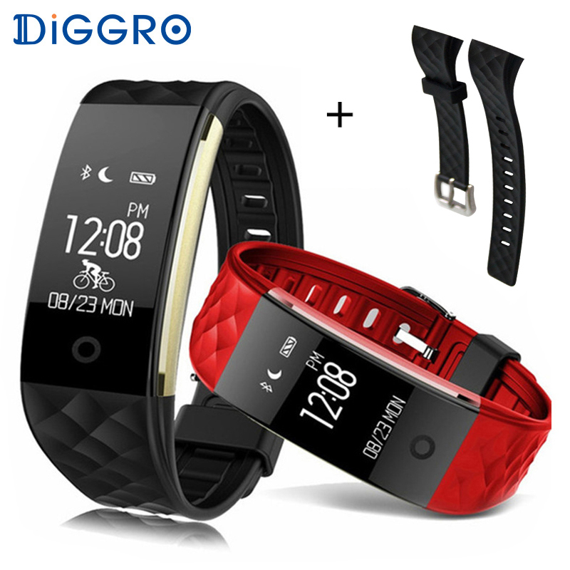 Diggro S2 Smart Bracelet Band Bluetooth 4.0 Fitness Tracker Heart Rate Monitor Smart Bracelet Wristband For IOS Android cawono cw11 smart bluetooth wristband heart rate monitor fitness activity tracker pedometer bracelet smart band for ios android