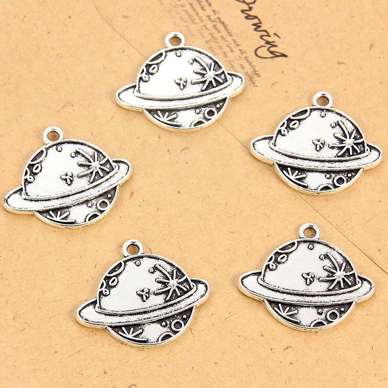 TJP 10 pcs Antique Silver Tone Mercury Earth Planet Round Charm Pendants for Necklace Jewelry Making Findings in Charms from Jewelry Accessories