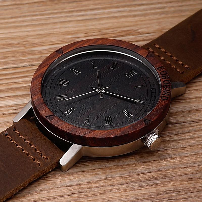 Watch Men Leather Strap Wooden Watches Luxury Wood Wristwatches relogio masculino C-K06 (5)