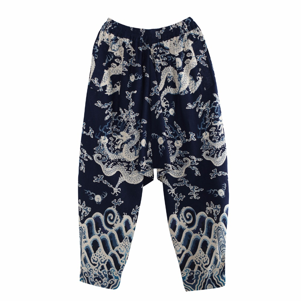 e9b274e76 India Nepal Loose Linen Pants China Dragon Pattern Cotton Linen Trousers  Men Soft Natural Flax Pants Elastic Waist Comfortable-in Casual Pants from  Men s ...