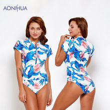 AONIHUA One piece Swimsuit Sexy Floral Printed Swimwear Women Batching Suit Beach Swimming For