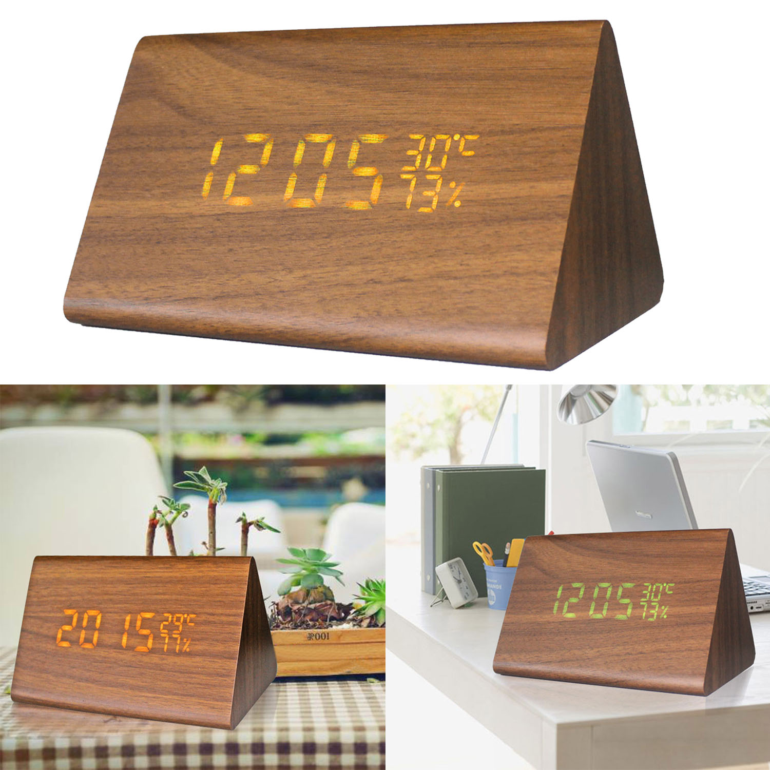 Gosear <font><b>LED</b></font> Light 2 Power Supply Mode Sound Control Temperature Indicator Mute Wooden Decorative Desktop Alarm Clock Accessories