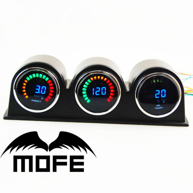 "Original Logo 2"" 20 LCD Digital 3PCS 52mm Auto Gauges With Gauge Pod + Boost + Water Temp + Oil Pressure"